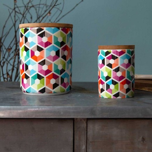 Remember Small Porcelain Canister Hexagon